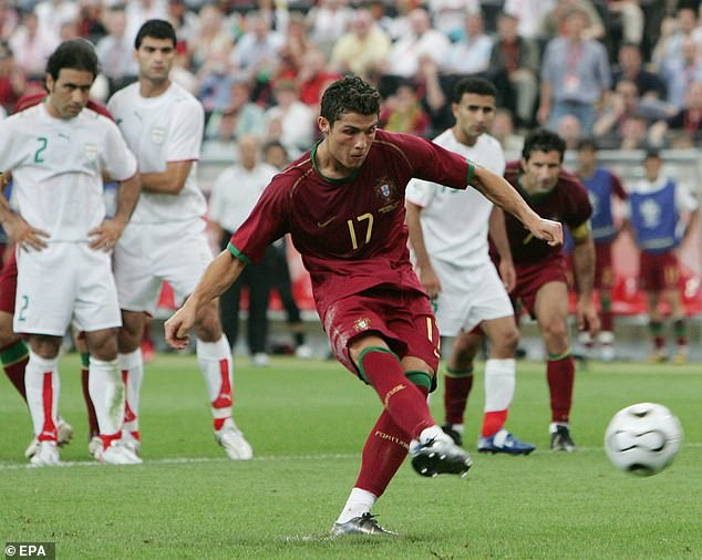 Cristiano Ronaldo scored his 12th goal for Portugal against Iran at the 2006 World Cup, a gae where striker Ali Daei was an unused substitute