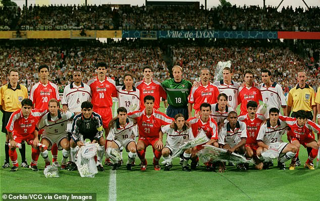 Iran and the US players had a team photo together before the match kicked off - Daei is No 10 and pictured fourth left, in the back row