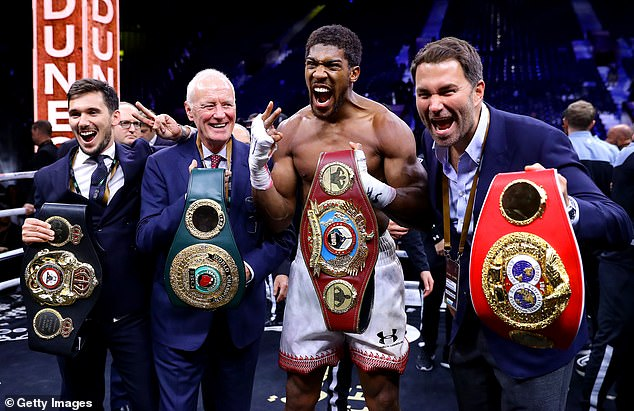 Hearn (R) planned for Joshua's mega-bout against Tyson Fury but that has been delayed