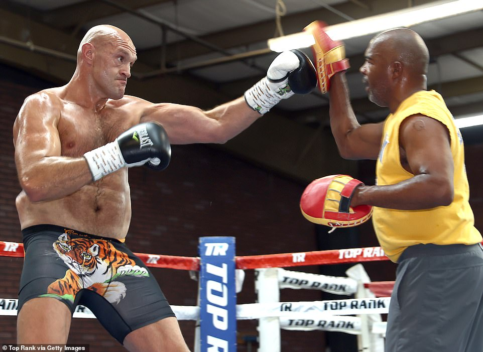 Fury, who has been out in the States since early April, has been putting in the hours in the gym in anticipation of a blockbuster showdown with Anthony Joshua in the summer before he was ordered to face Wilder in a rematch. The third fight with Wilder is still six weeks out, with the Allegiant Stadium in Las Vegas booked for July 24, but Fury's training partner Dmitry Salita has claimed he is already in supreme fighting condition, looking 'unstoppable' and showing no signs of any ring rust.