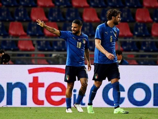 Italy's Lorenzo Insigne celebrates scoring their third goal on June 4, 2021